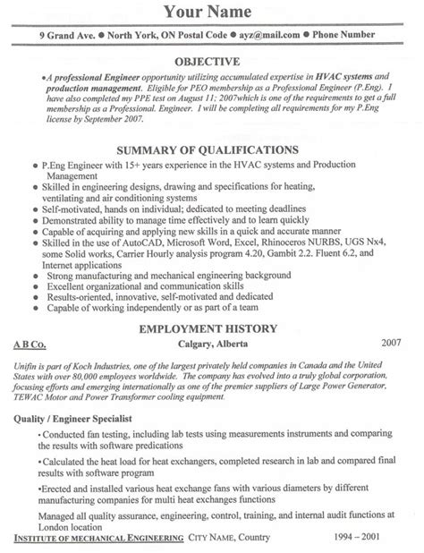 canadian resume format template search in usa and canada