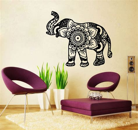 Elephant Room Decor Elephant Wall Decal Namaste Lotus Flower Wall Decals Vinyl