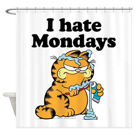 garfield shower curtain i hate mondays shower curtain by garfield