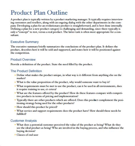 product business plan template sle product plan template 9 free documents in pdf word