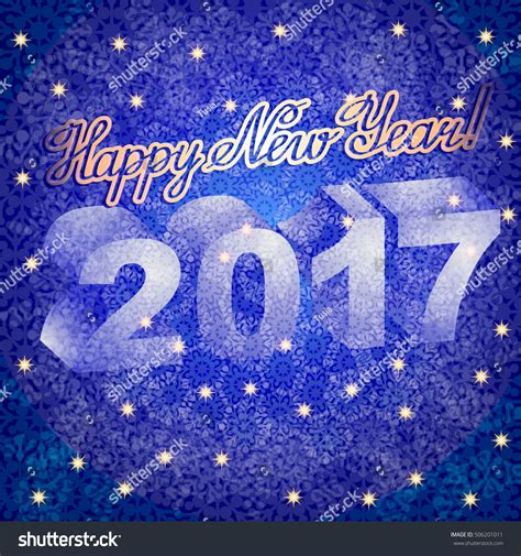new year congratulation text vector greeting card with lettering congratulation blue background snowflakes and