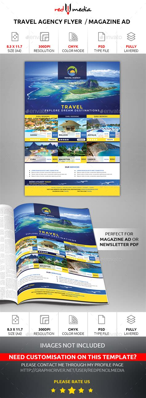 Travel Agency Flyer Magazine Ad By Redpencilmedia Graphicriver Magazine Ad Template
