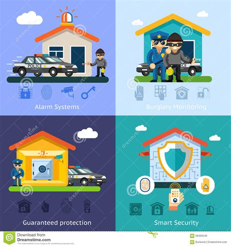 home security system flat vector background stock vector