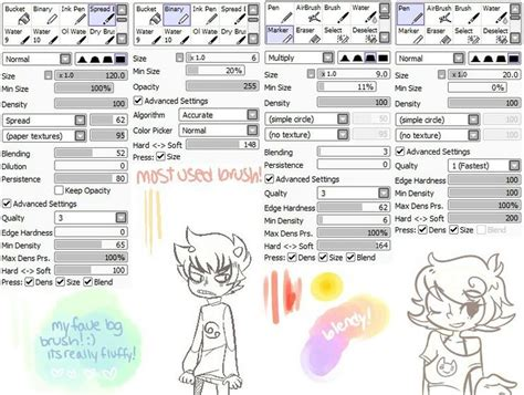 paint tool sai user guide 39 best paint tool sai brush settings images on