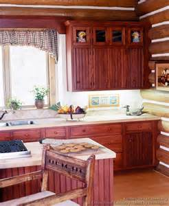 attractive Open Country Kitchen Designs #9: kitchen-cabinets-traditional-red-003-cp508c-early-american-island-log-home-beadboard.jpg