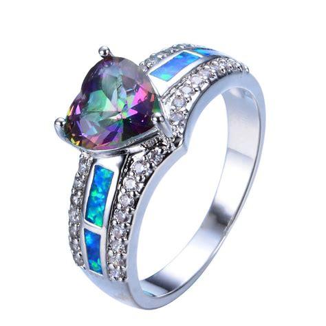rainbow mystic topaz blue opal wedding ring 10kt