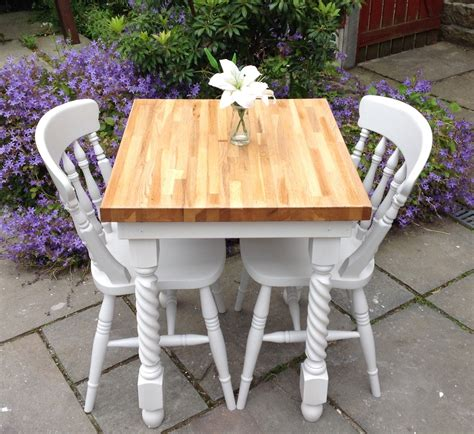 shabby chic solid oak dining table 2 white chairs