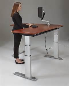automatic height adjustable desk newheights corner height adjustable standing desk