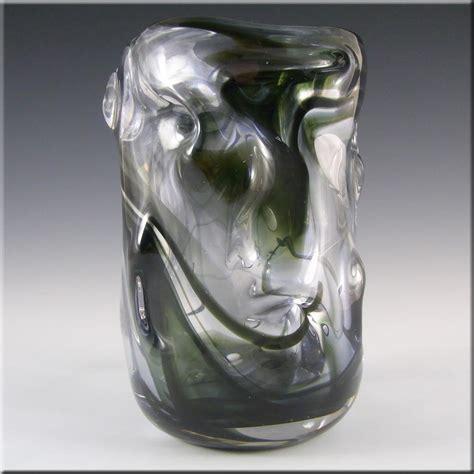 whitefriars wilson dyer streaky green glass knobbly vase