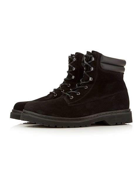 mens boots topman topman black suede heavy cleated boots in black for lyst