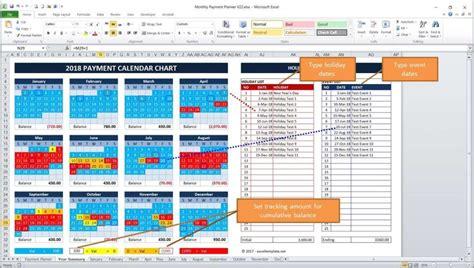 Bill Payment Calendar Bill Payment Calendar Excel Templates