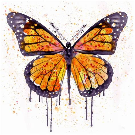 Home Decoration Paintings by Monarch Butterfly Watercolor Mixed Media By Marian Voicu