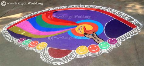 rangoli themes on social issues rainbow rangoli