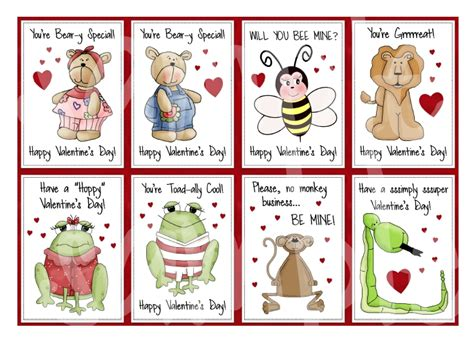 Free Printable Animal Valentines Day Cards | printable kids valentines printable childrens valentines