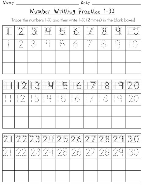 Printable Number Worksheets 1 30 | printable number 1 30 worksheets activity shelter