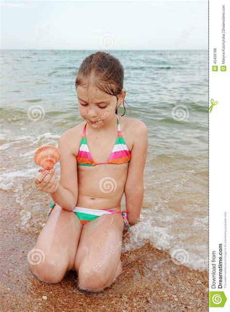 charming little models kid on the beach crimea stock photo image 45409788