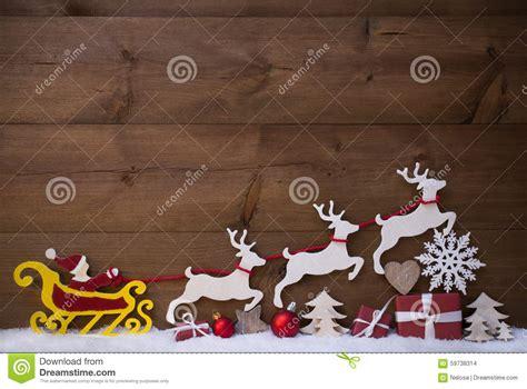 santa ckaus with snow decoration santa claus sled with reindeer snow decoration stock photo image 59738314