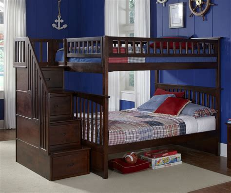 bunk bed full columbia full over full staircase bunk bed antique walnut