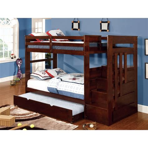 Furniture Stores That Sell Bunk Beds Furniture Of America Malvin Bunk Bed With Steps Idf Bk612