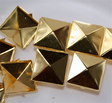 Gold Pyramid Studs 50pcs 9 16 inch15mm gold pyramid studs with 4 by