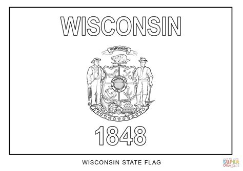 Wisconsin State Flag Coloring Page wisconsin state flag coloring page free printable