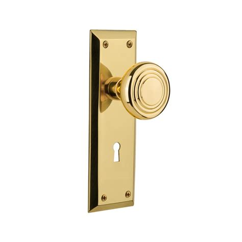 Door Knob Backset by Nostalgic Warehouse New York Plate With Keyhole 2 3 4 In