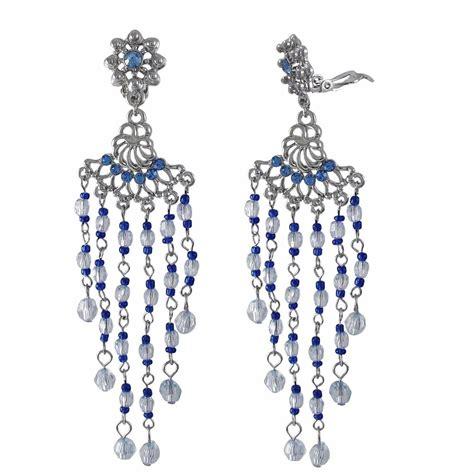 Chandelier Clip On Earrings Blue White Chandelier Silver Tone Clip On Earrings Ebay