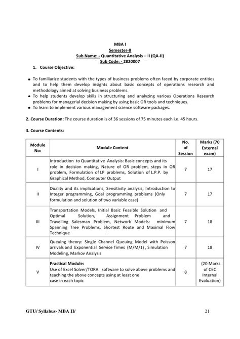 Mba In Operations Management Syllabus by New Mba Sem2 Detailed Syllabus