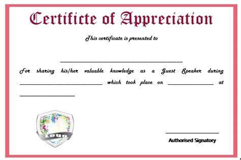 Sample certificate of appreciation for guest speaker resume pdf sample certificate of appreciation for guest speaker yadclub Choice Image