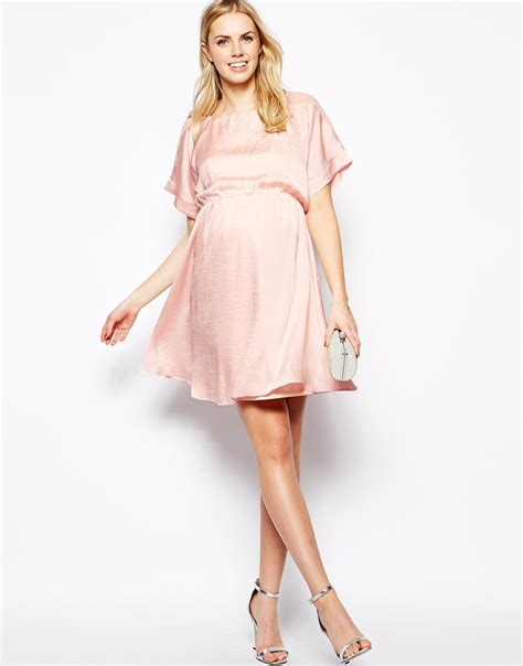 Kinanti Midi Dress Pink Nursingwear asos midi dress with chiffon shoulder in hammered satin in pink lyst