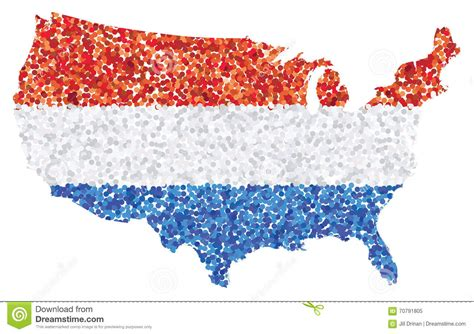 us map with and blue states flag and map of united states of america royalty free