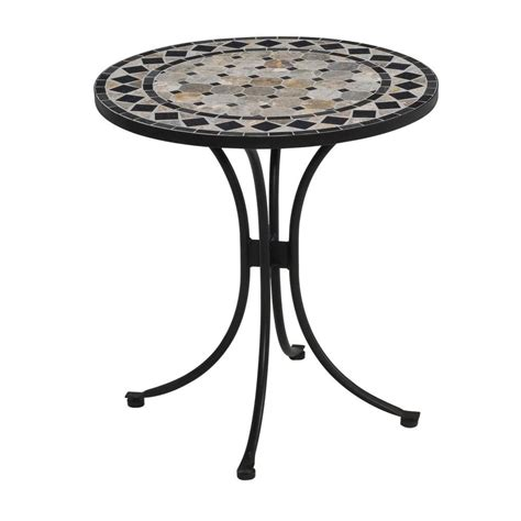 Home Depot Outdoor Patio Dining Sets Home Styles 28 In Black And Tan Round Tile Top Patio