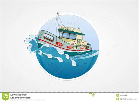 boat wave icon moving fishing boat deep sea with wave round vector