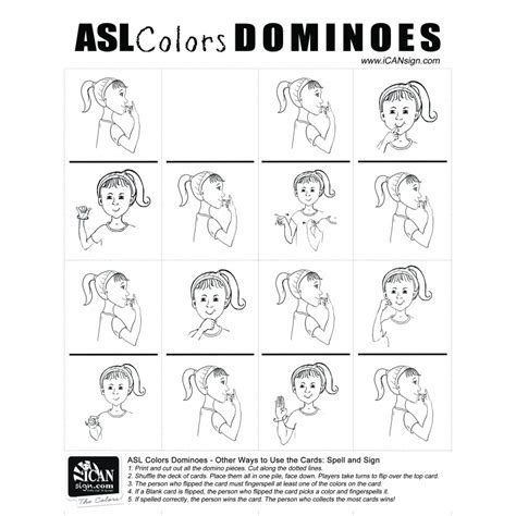 sign language for colors printable asl dominios sign language colors