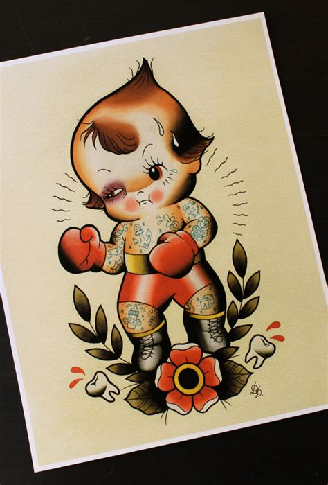 kewpie boxer traditional tattoo flash print 11x14