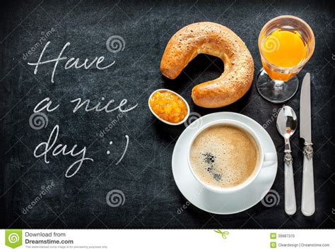 cover layout of continental breakfast continental breakfast on black chalkboard stock photo