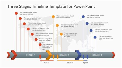 powerpoint milestone template three stages timeline template for powerpoint slidemodel