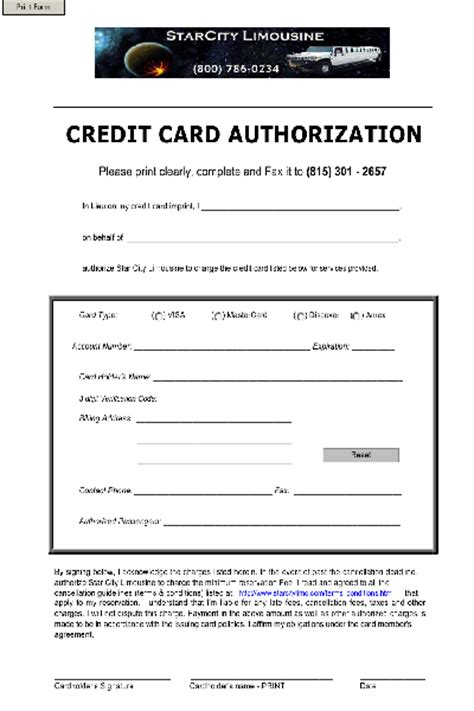 Sle Credit Card Authorization Form Doc Credit Card Template Word Vertola