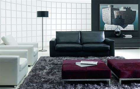 modern living room design with black sofa arch l white sofa grey rug and bench with sleek