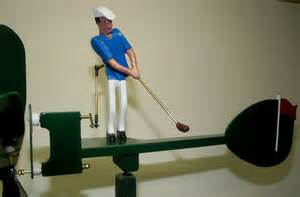 Hand crafted male golfer whirligig by whirligigs hand crafted