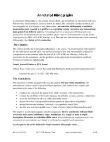 Essay Bibliography Exle by Annotated Bibliography Handout Fall2011