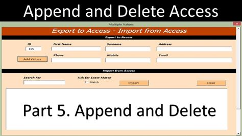 access vba delete append and delete ms access record sets from an excel