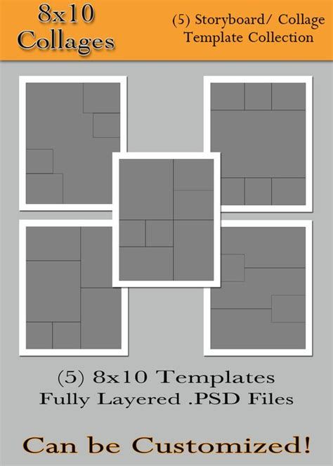 Items Similar To 8x10 Collages 5 Custom Photo Storyboard Collage Templates For 8x10 Photo Collage Template
