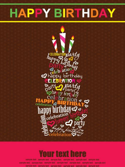 graphic design happy birthday vector set of happy birthday cake card free vector in