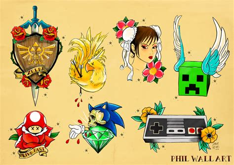 old school video game tattoo fan art friday phil wall s tattoo flash sheets strange
