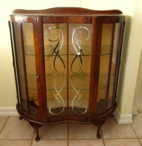 Antique Curio Cabinet Antique Wood Curved Glass Small Curio Display Cabinet Ebay