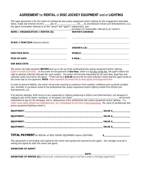 Sle Dj Contract Form 8 Free Documents In Pdf Doc Dj Equipment Rental Contract Template