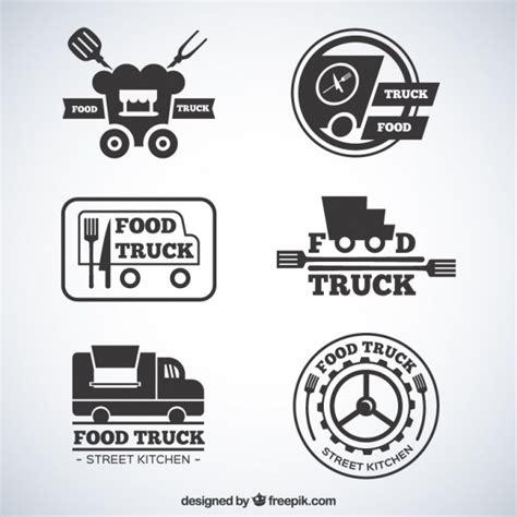 free food truck logo design flat grey food truck logotypes vector free download
