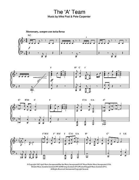 theme song a team theme from the a team sheet music by mike post piano