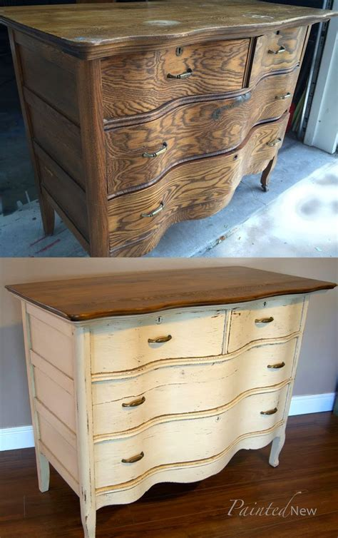 furniture makeover antique dresser with benjamin shaker beige and minwax walnut stain